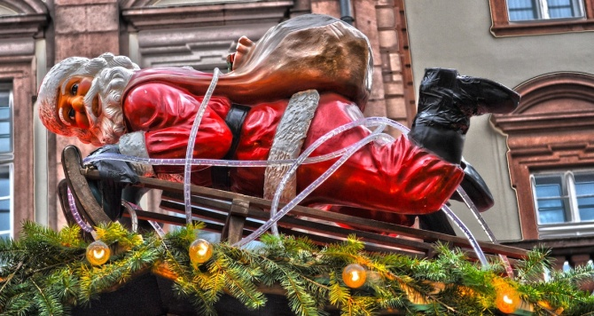 Santa Claus Tied Up With The Xmas Decoration