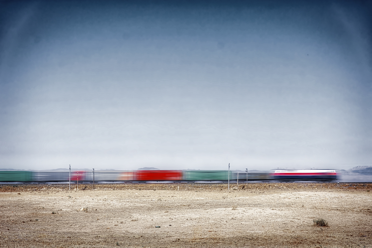 A Train Cuts Through The Desert